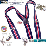 "Hold-Ups Navy & Red Striped 1 1/2"" wide Suspenders with Y-back style and No-slip Silver Tone Clips"