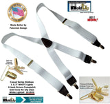 "Hold-Ups White, 1 1/2"" wide Casual Series in X-back style Suspenders with Patented No-slip Gold clips"