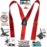 "Holdup Suspender Company's Extra Long Cherry Red Satin Finish 1"" wide Formal Double-Ups Style Suspenders"