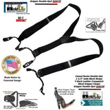 Holdup All Black Double-Up Y-back style Holdup Suspenders with Patented Gripper Clasps