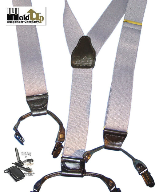Hold-Ups Silver Fox Grey Dual-clip Double-ups Style Suspenders 1 1/2
