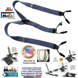 Holdup Casual Series Double-Up Holdup Suspenders in  Dark Denim color with patented no-slip clips