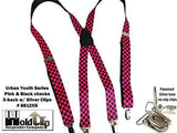 "Hold-Ups Urban Youth Pink and Black Checkered Flag Suspenders 1"" in X-back with No-slip Silver Clips"