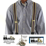 "Hold-Ups Khaki and Navy Striped 1 1/2""wide Suspenders in X-back w/ Patented NO-SLIP Nickel clips"
