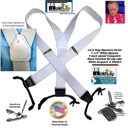 Larry King Signature White Jacquard Double-Up Holdup Suspenders with patented No-slip Clips