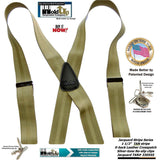 "Hold-Ups Jacquard Stripes 1 1/2"" wide Tan stripe Suspenders in X-back style and Patented No-slip Nickel Clips"