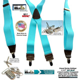 Hold-Ups Sky Blue Brand Suspenders in X-back Style and Patented Silver No-slip Clips