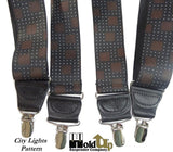 Hold-Ups City Lights Pattern Designer X-back Suspenders With Patented No-slip clip