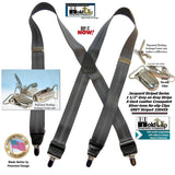 "Hold-Ups Grey Stripe Jacquard 1 1/2"" X-back style Suspenders with Patented No-slip Nickel Clips"