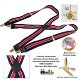 "Holdup Brand Navy & Red Stripe 1 1/2"" Wide Suspenders in X-back Style with No-slip Gold Tone Clips"