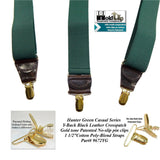 Holdup Brand Rich Dark Hunter Green Men's Clip-On Y-back Suspenders with Gold-tone Patented Clips
