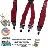 HoldUp Brand dark Bordeaux Burgundy satin finished X-back clip-on men's Suspenders with silver no-slip clips