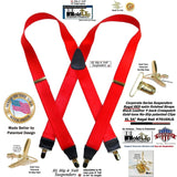 Holdup Brand XL Regal Red Satin Finished Suspenders with Patented No-slip Gold-tone Clips
