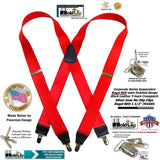 Holdup Brand Corporate Series Regal Red Satin Finish X-back suspenders with silver-tone no-slip clips