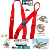 Holdup Brand Regal Red Satin Finish clip-on suspenders with silver-tone No-slip Clips