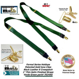 "Holdup Brand Dark ""Verde Green"" 1"" wide satin finish Thin X-back suspender with patented no-slip Gold-tone Clips"
