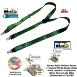 "Holdup Suspender Company's dark Verde Green 1"" wide satin finish Suspenders with Y-back styles and patented no-slip Silver Clips"