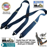 "Holdup Brand 42"" wide Teenager sized Dark Blue X-back Ski-Up Suspenders with Patented Gripper Clasps"