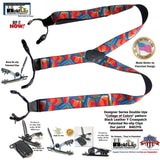 Dual-clip Collage of Colors Pattern Holdup Double-Up Style Suspenders with patented No-slip clips