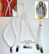 "Hold-Ups Urban Youth white 3/4"" wide Suspenders in X-back with No-slip Clips"