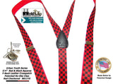 "Hold-Ups Urban Youth Red and Black Checkered Flag 1"" wide Suspenders in Y-back with No-Slip Silver Clips"