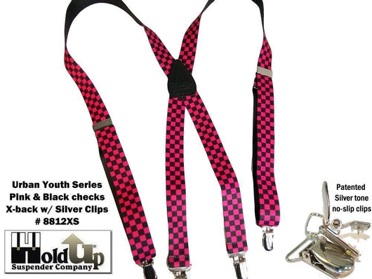Hold-Ups Urban Youth Pink and Black Checkered Flag Suspenders 1