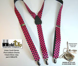 "Hold-Ups Urban Youth Pink and Black Checkered Flag 1"" in Y-back Suspenders with No-slip Silver Clips"