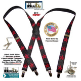 "Hold-Ups Urban Youth Red Stars Pattern 1"" Wide Suspenders in X-back with No-slip Silver Clips"