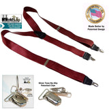 Holdup Brand Bordeaux Burgundy colored satin Finish Y-Back Suspenders with Patented No-slip Nickel plated Clips
