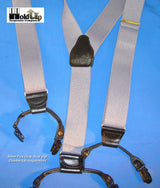 "Hold-Ups Silver Fox Grey Dual-clip Double-ups Style Suspenders 1 1/2"" wide with Patented No-slip Clips"