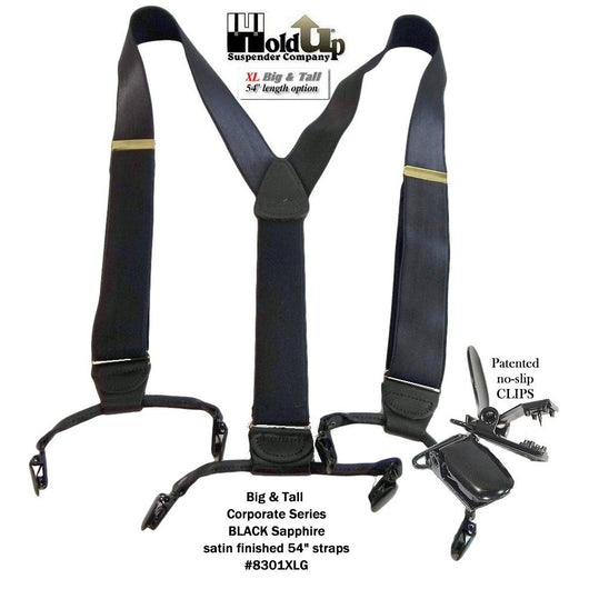 Hold-Ups XL Corporate Series Dual Clip Double-Ups style Suspenders in Satin Finish Black with No-slip Clips