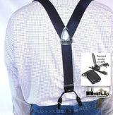 Hold-Ups XL Satin Finished dark Steel Blue Corporate Series Double-ups Style Suspenders with No-slip clips