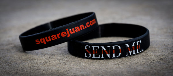 Squarejuan Send Me™ Thin Red Line Wristband in support of firefighters around the world. Isaiah 6:8 #SendMe