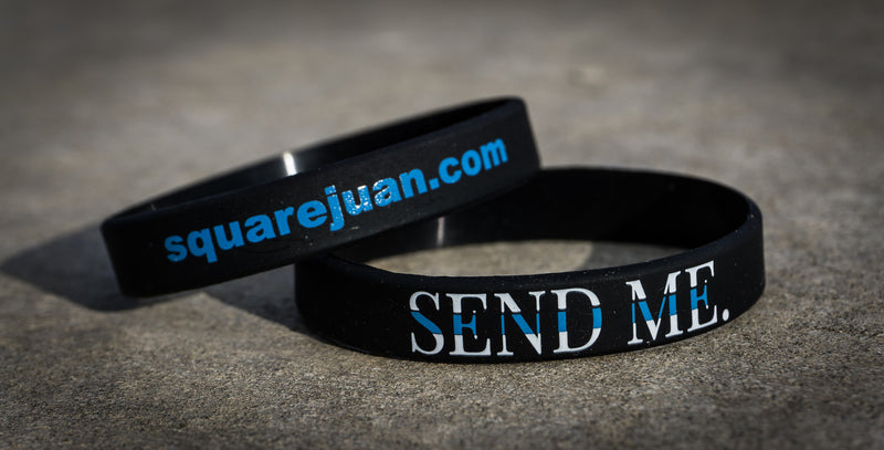 Squarejuan Send Me™ Thin Blue Line Wristband/Bracelet in support of law enforcement/police around the world. Isaiah 6:8 #SendMe