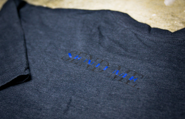 "Squarejuan Send Me™ Thin Blue ""Support"" T-Shirt in support of law enforcement/police around the world. Isaiah 6:8 #SendMe"