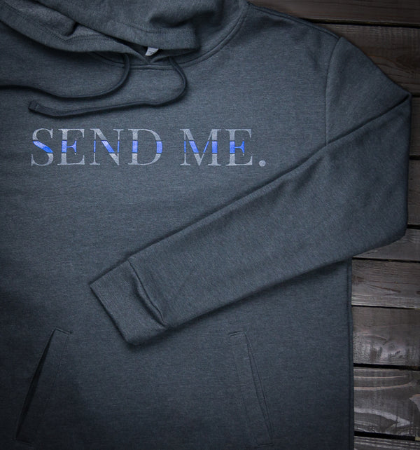 Squarejuan Send Me™ Thin Blue Line Hooded Pullover in support of law enforcement/police around the world. Isaiah 6:8 #SendMe