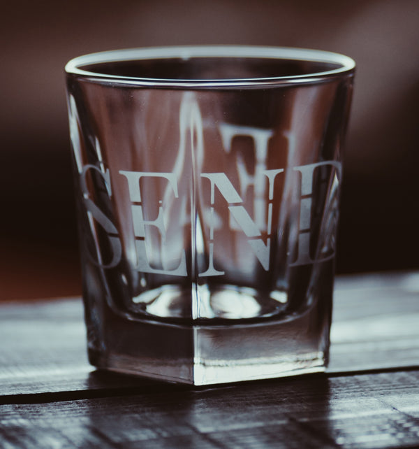 Send Me™ Etched Faceted Drinking Glass