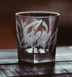 Send Us Etched Faceted Drinking Glass