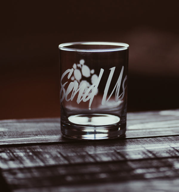 Send Us Etched Glass Tumbler