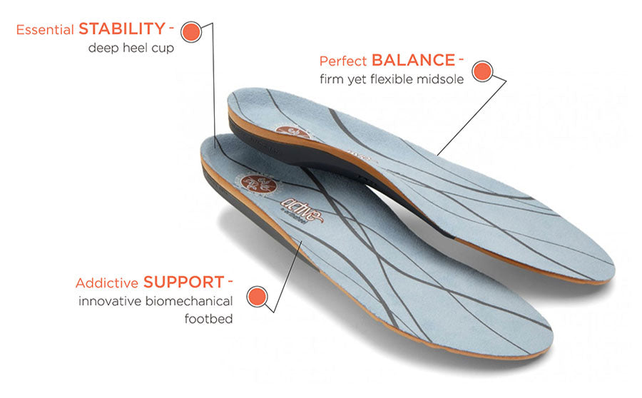 Vionic orthotics offer stability and support.