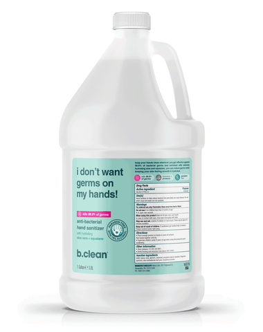 b.clean i don't want germs on my hands... hand sanitizer light gel (1 Gal) hand sanitizer gel
