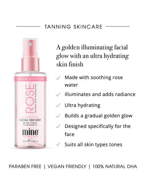 MineTan Body Skin Rose Illuminating Facial Tan Mist Mine Face