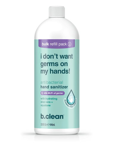 i don't want germs on my hands... hand sanitizer foam b.clean