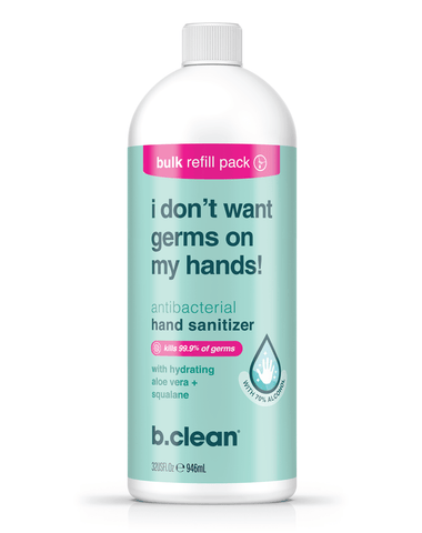 i don't want germs on my hands... hand sanitizer gel b.clean