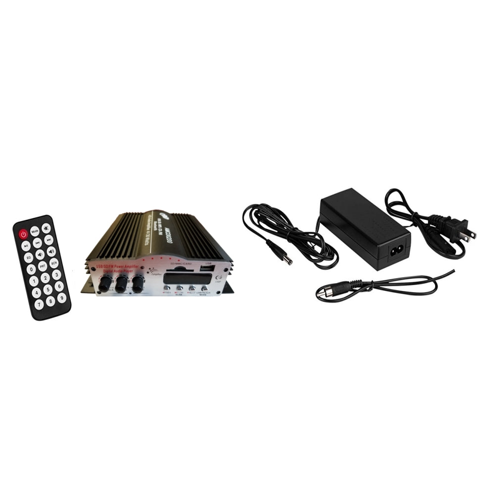 CDD 4 Channel Bluetooth Mini Amplifier 4x30W with P/S, Remote, USB, MP3, Media Card, FM - 21st Century Entertainment Inc.