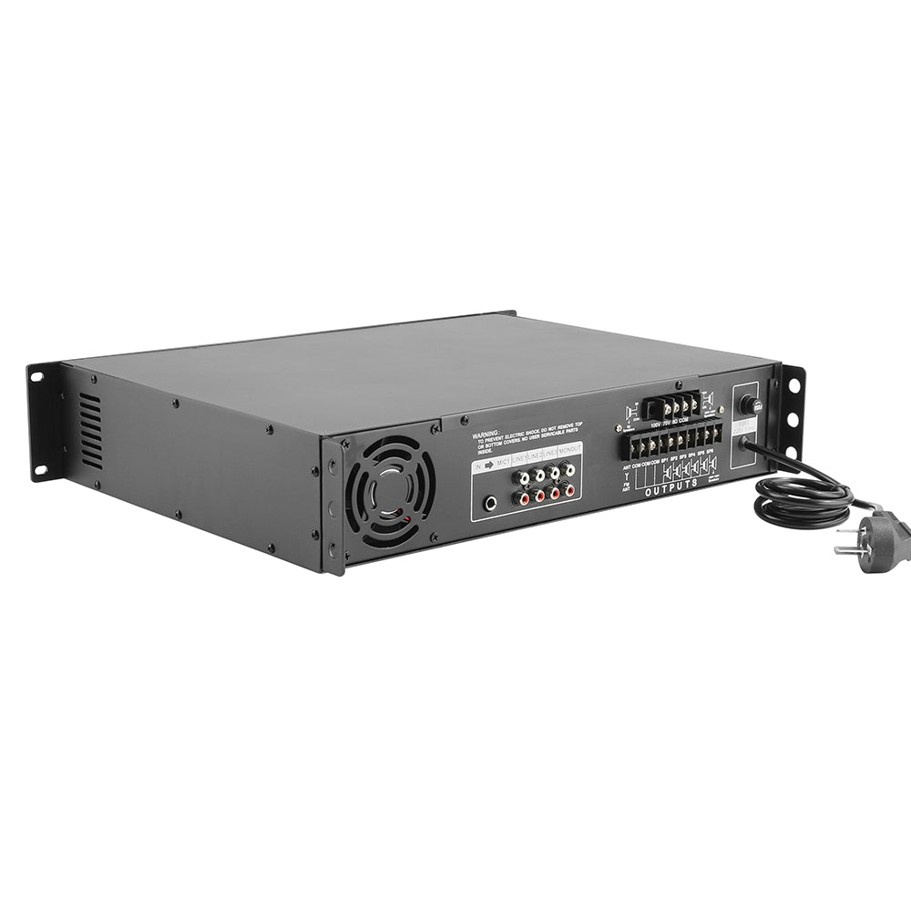 CDD 6 Zone Audio Amp. 500W. 4-16 Ohm, 70/100 Volt, 2 Mic In., Bluetooth/USB/SD/FM, Rack Mount.