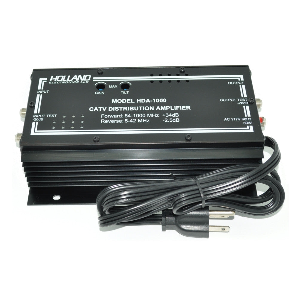 Holland Electronics HDA-1000 35Db, 1 GHz Amplifier with Passive Reverse - 21st Century Entertainment Inc.