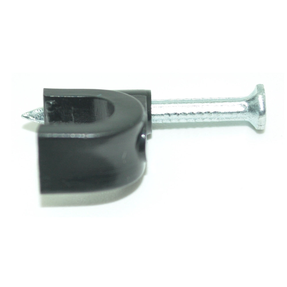 Single Cable Clips with Nail for RG6 Cable, Black 100 per Pack - 21st Century Entertainment Inc.