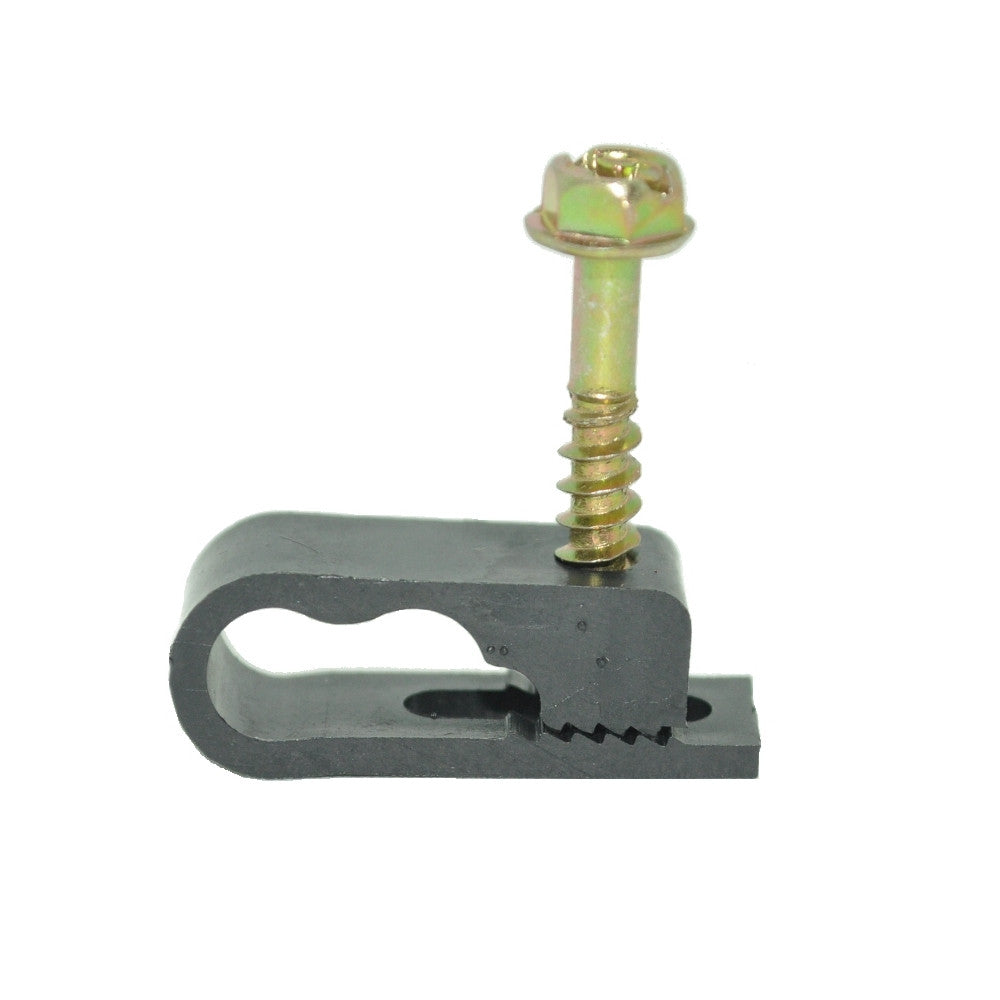 Dual Cable Clips with Screw for RG6 Cable, 100 per Pack - 21st Century Entertainment Inc.