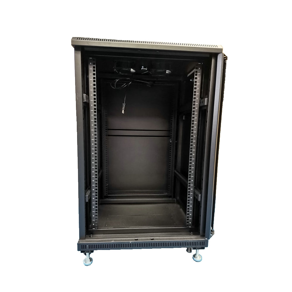 "CDD 27U / 51.18"" A/V Component Rack c/w 4 Shelves and 2 Fans"